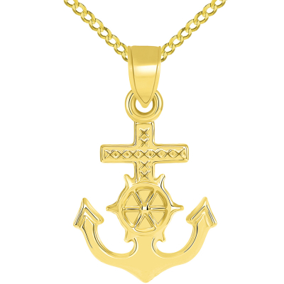 14k Yellow Gold Religious Nautical 3D Mariner's Cross Pendant Figaro Necklace