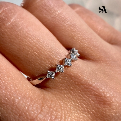 ASSCHER CUT DIAMOND RING - on finger