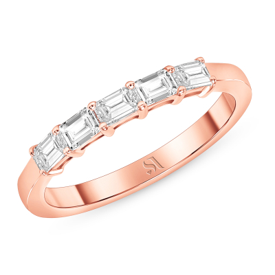 Dainty East West Emerald Diamond Ring - Rose Gold