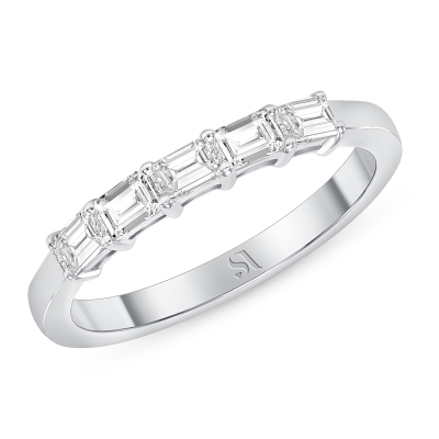 Dainty East West Emerald Diamond Ring - White Gold