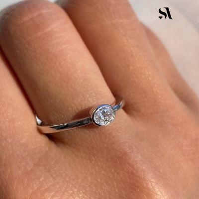 Oval Diamond Bezel Set Ring - Image