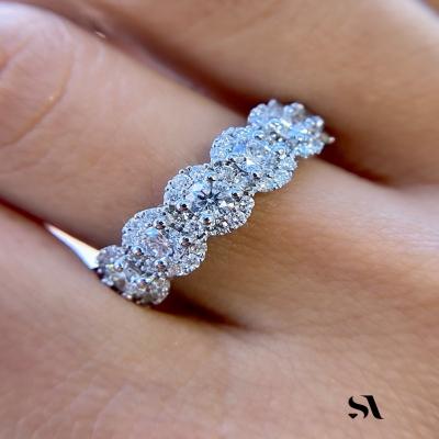 ROUND DIAMOND HALO ETERNITY BAND - IMAGE