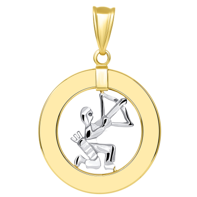 14k Two Tone Gold Open Circle Sagittarius Zodiac Sign Pendant Figaro Necklace