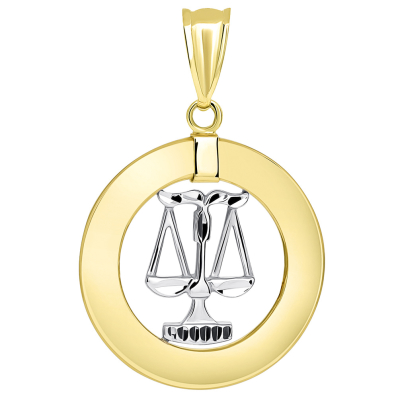14k Two Tone Gold Open Circle Libra Zodiac Sign Pendant Figaro Necklace