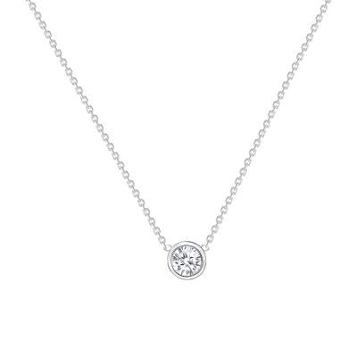 ROUND DIAMOND BEZEL SET NECKLACE White Gold
