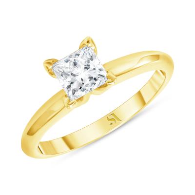 half carat princess cut engagement ring