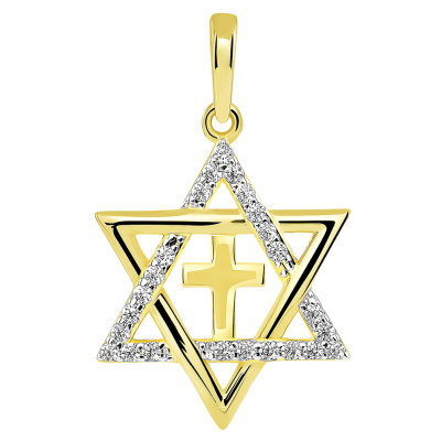 Yellow Gold CZ Star of David with Religious Cross Judeo Christian Pendant
