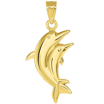 14k Yellow Gold 3D Two Dolphins Jumping Together Vertical Pendant with Figaro Necklace