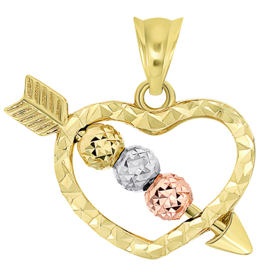 14k Tri-Color Gold Beaded Cupid's Love Arrow Through Textured Small Heart Pendant Necklace