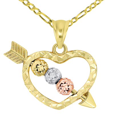 14k Tri-Color Gold Beaded Cupid's Love Arrow Through Textured Small Heart Pendant Necklace with Figaro Chain