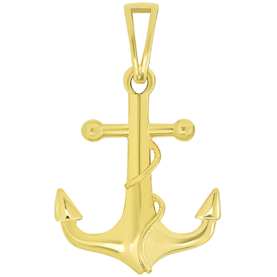 14k Yellow Gold Maritime Anchor with Rope Pendant Necklace