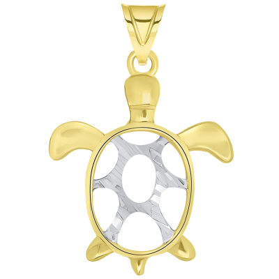 Sea Turtle Good Luck Pendant Necklace With Figaro Chain