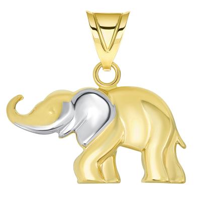 High Polished Two Tone Elephant Pendant
