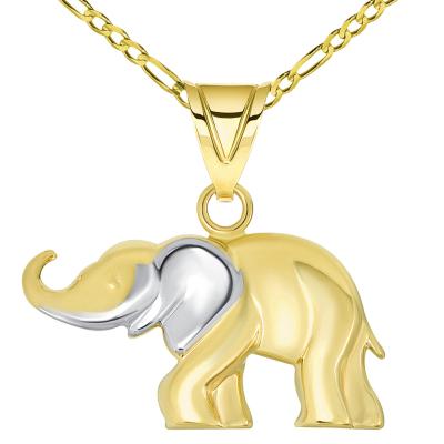 14k Yellow Gold High Polished Two Tone Elephant Pendant