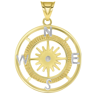 14k Yellow Gold Two Tone 16-Wind Point Compass Rose Pendant