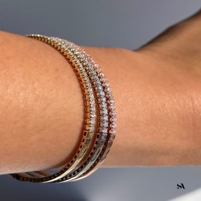 Halfway Diamond Flexible Bangle Bracelet on finger