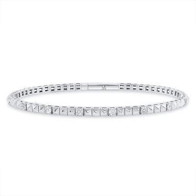 pyramid flexible bangle bracelet white gold
