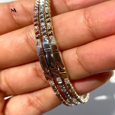 14k pyramid bracelet displayed