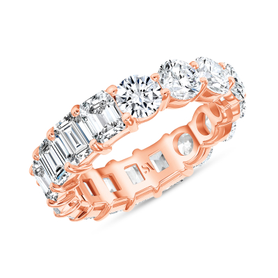 emerald and diamond eternity band rose gold