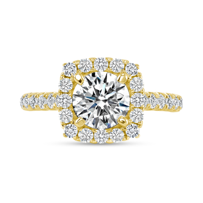 2 carat round halo engagement ring yellow gold