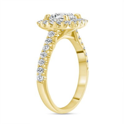 round halo engagement ring yellow gold