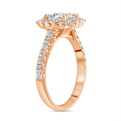 2 carat round halo engagement ring in rose gold