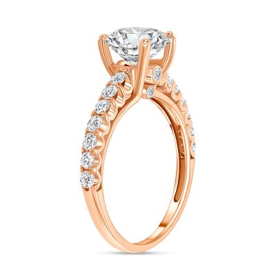 classic round diamond engagement ring rose gold