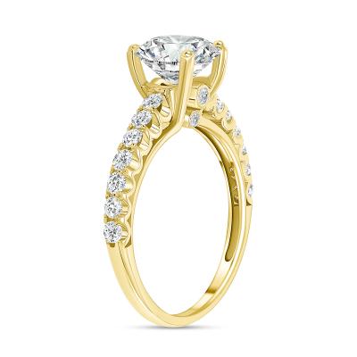 classic round diamond engagement ring gold