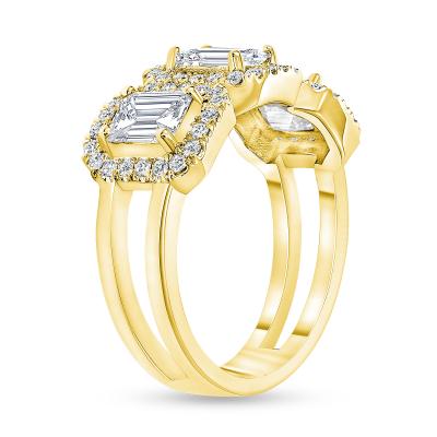 3 emerald cut diamond ring gold