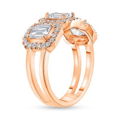 3 emerald cut diamond ring rose gold
