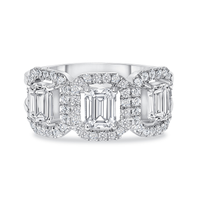 3 emerald cut diamond ring white gold