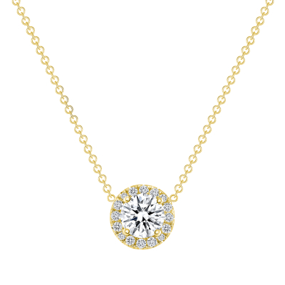 14k gold round diamond solitaire pendant necklace