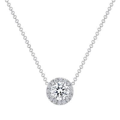14k white gold round diamond solitaire pendant necklace