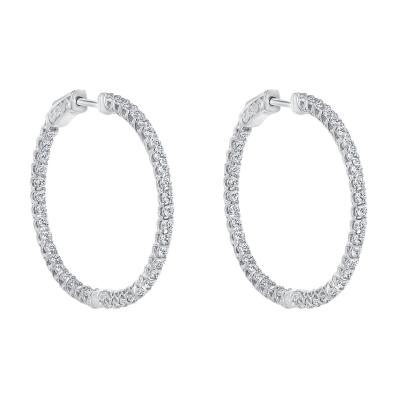 circular diamond hoops earrings white gold