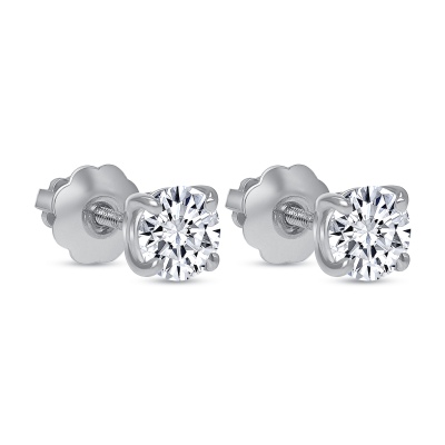 round solitaire diamond stud earrings white gold