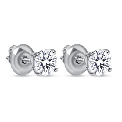 Petite solitaire diamond stud earrings white gold