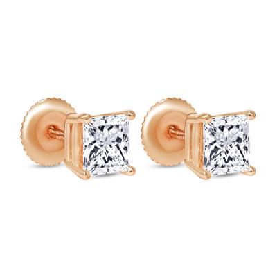large princess cut diamond stud earrings rose  gold