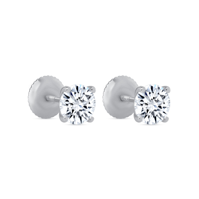 White gold genuine 14k gold 1.5 ct round brilliant cut solitaire stud earrings