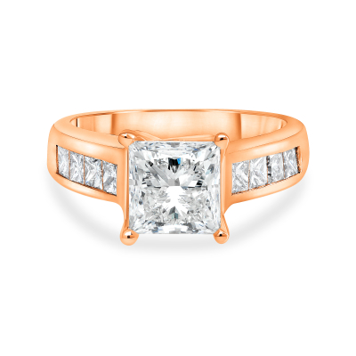 2ct princess cut diamond engagement ring rose gold