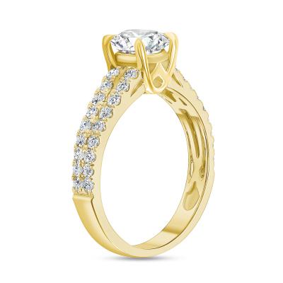 2 row diamond ring gold