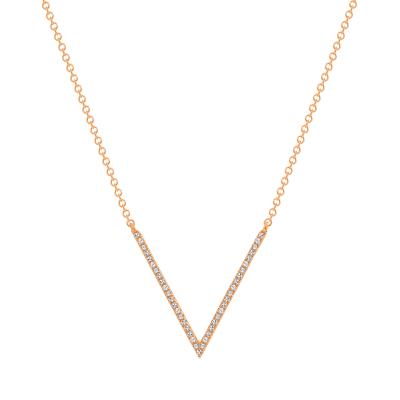 v shaped diamond necklace rose gold