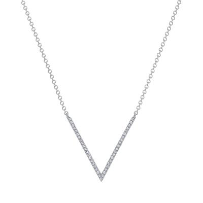 v shaped diamond necklace white gold