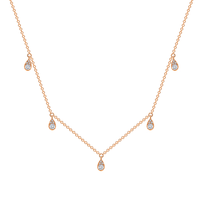 Diamond station necklace in white gold | Diamond Collection Inc