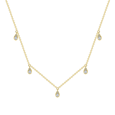 Diamond station necklace in gold | Diamond Collection Inc
