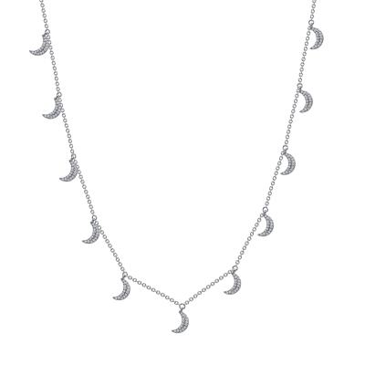 White gold diamond crescent moon necklace