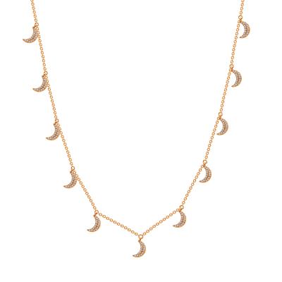 rose gold diamond crescent moon necklace