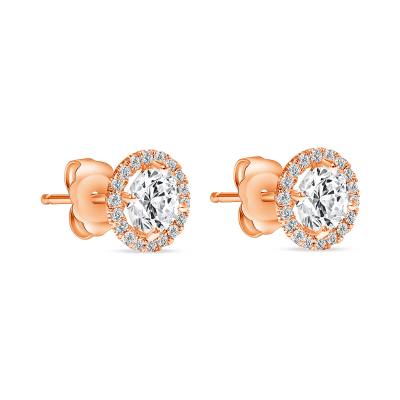 diamond stud rose gold earrings with halo