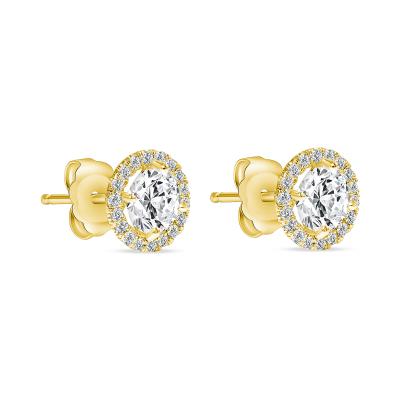 diamond stud gold earrings with halo