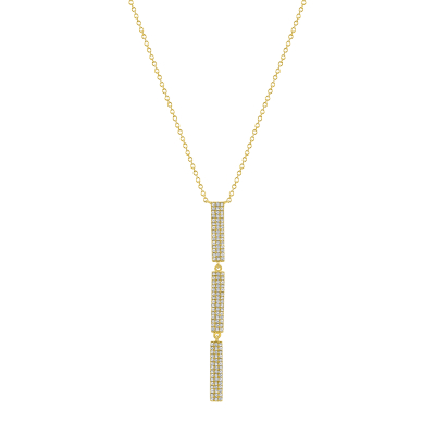 vertical diamond bar pendant necklace with 3 bars gold