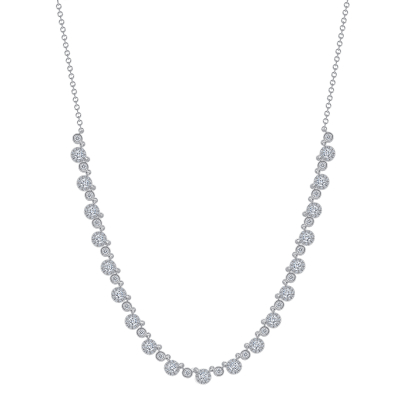 small round diamond necklace white gold